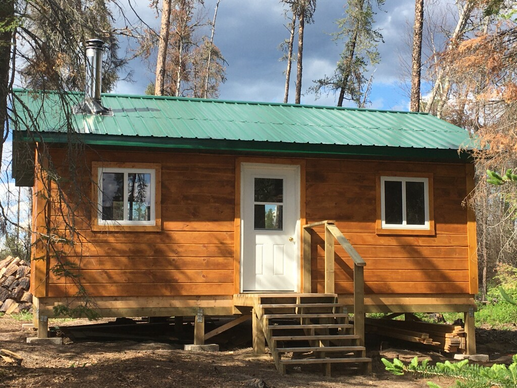 exterior of sleeping cabin. Completed the summer of 2020